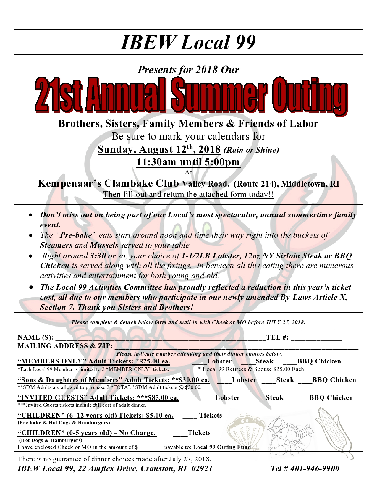 21st Annual Summer Outing